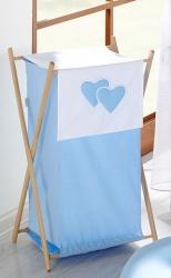 Koš na prádlo Srdíčka modrá