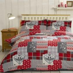 Povlečení Vánoční ozdoby červené 100% bavlna flanel, Rozměr dvoulůžko 1ks 200x200 + 2ks 50x75cm