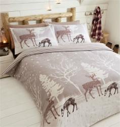 Povlečení Hvězdný les béžový 100% bavlna flanel, Rozměr jednolůžko 1ks 135x200 + 1ks 50x75cm
