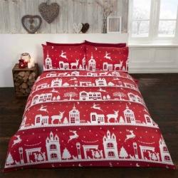 Povlečení Vánoční městečko červené 100% bavlna flanel, Rozměr jednolůžko 1ks 135x200 + 1ks 50x75cm