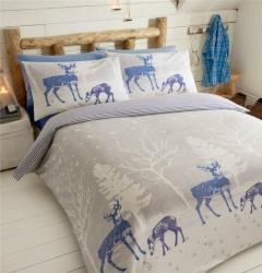 Povlečení Hvězdný les modrý 100% bavlna flanel, Rozměr jednolůžko 1ks 135x200 + 1ks 50x75cm