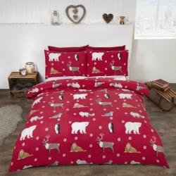 Povlečení Zimní zvířátka červená 100% bavlna flanel, Rozměr jednolůžko 1ks 135x200 + 1ks 50x75cm