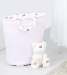 Koš na hračky růžový s hvězdičkami