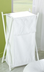 Koš na prádlo Srdíčka bílá