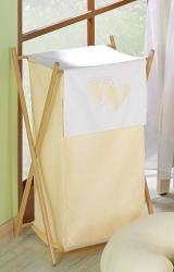 Koš na prádlo Srdíčka krémová